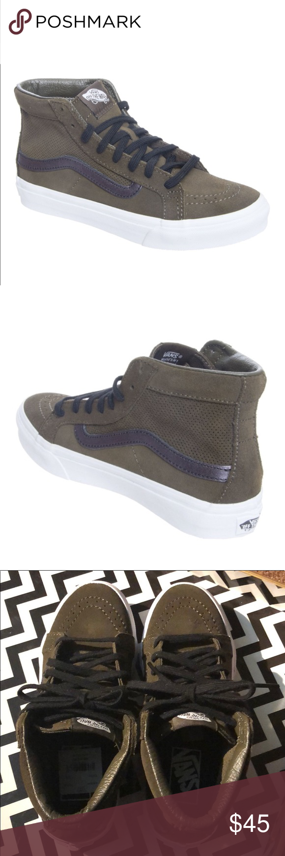 95a1625d43af6a VANS SK8 HI SLIM CUTOUT Perf Suede Tarmac True White Sizing  Women s 5 is a  Mens and Kids 3.5 Women s 5.5 is a Men s and Kids 4 Vans Shoes Sneakers