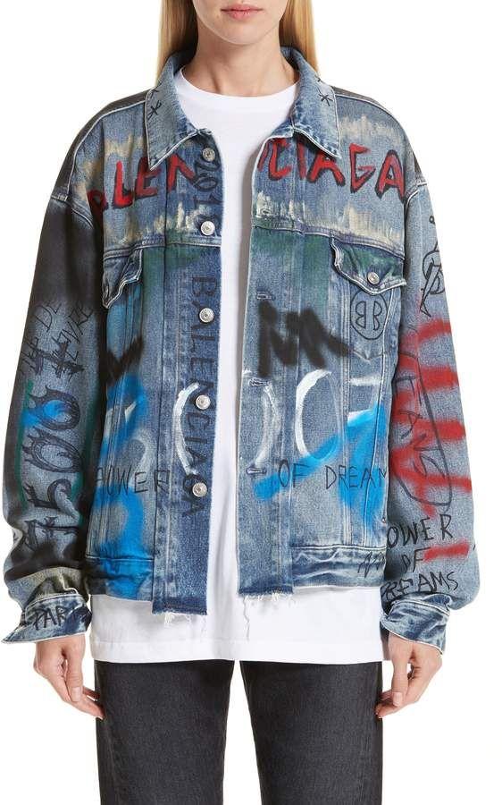20c015cbf6f Balenciaga Graffiti Print Denim Jacket