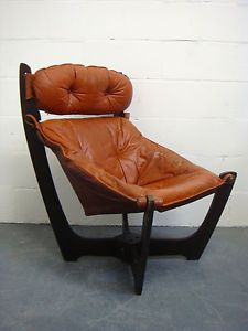 Vintage Odd Knutsen Orange Leather High Back Luna Armchair Retro Chair 1970s