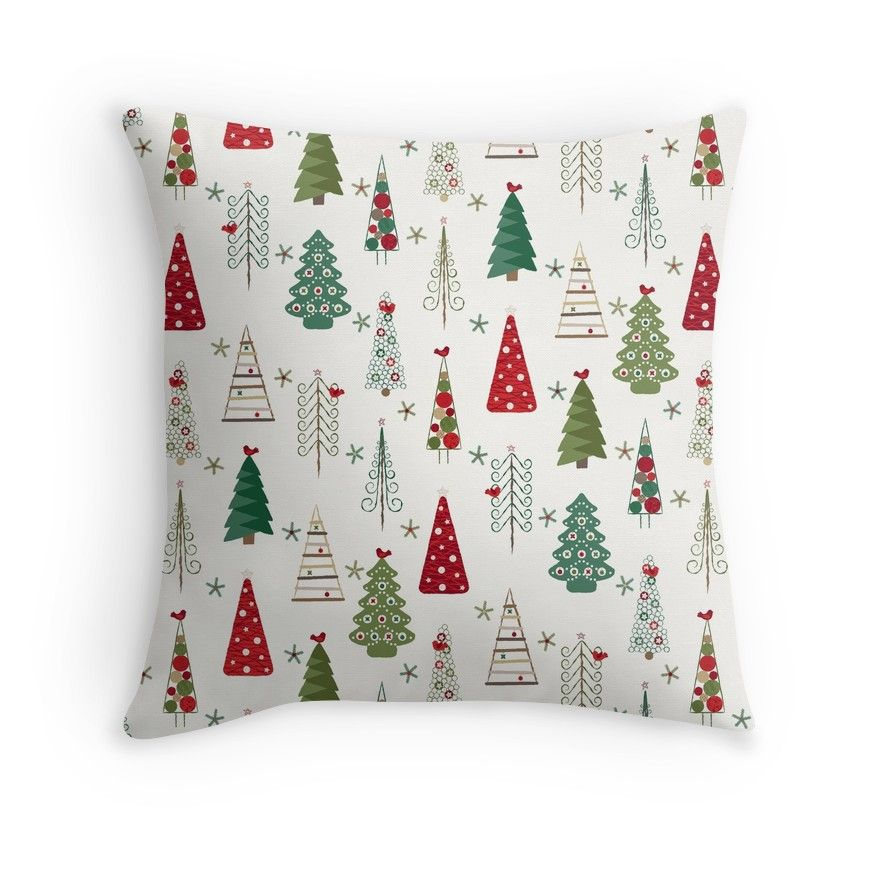 Swedish Minimalist Christmas Trees Pattern Classic Red And Green Throw Pillow By Wickedrefined Nicole Demereckis Green Throw Pillows Scandinavian Christmas Trees Designer Throw Pillows