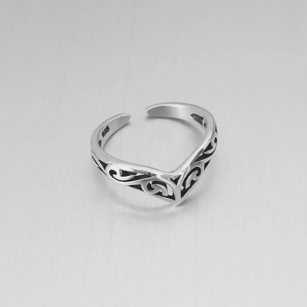 Chevron Midi Toe Ring Band 925 Sterling Silver 6mm