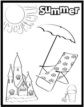 Summer Coloring Page Freebie Well Use This For Preposition Practice Ill Print Out Other Pictures Like A Beach Ball Towel Sunblock Etc