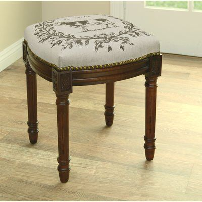 Marvelous 123 Creations Cow Linen Upholstered Vanity Stool With Theyellowbook Wood Chair Design Ideas Theyellowbookinfo
