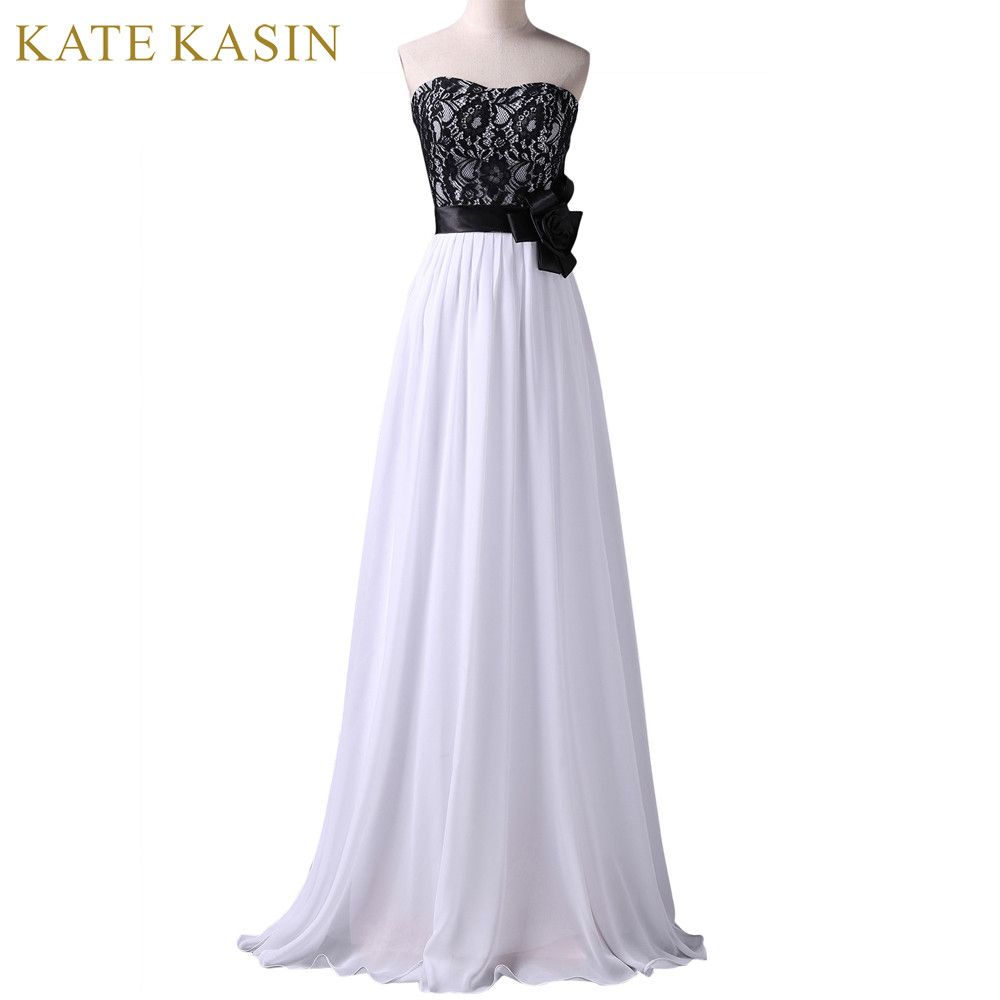 Long Evening Dresses Black Lace White Chiffon Gown Elegant Formal
