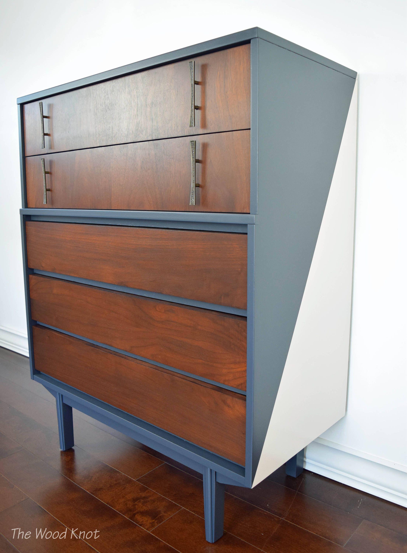Best Mid Century Modern Gray And Pink Highboy Dresser By 640 x 480