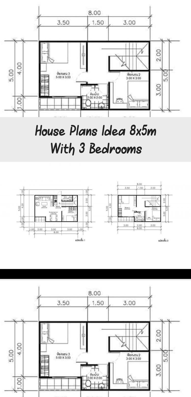 House Plans Idea 8x5m With 3 Bedrooms In 2020 With Images House Plans House Plans 2 Storey Small House Plans