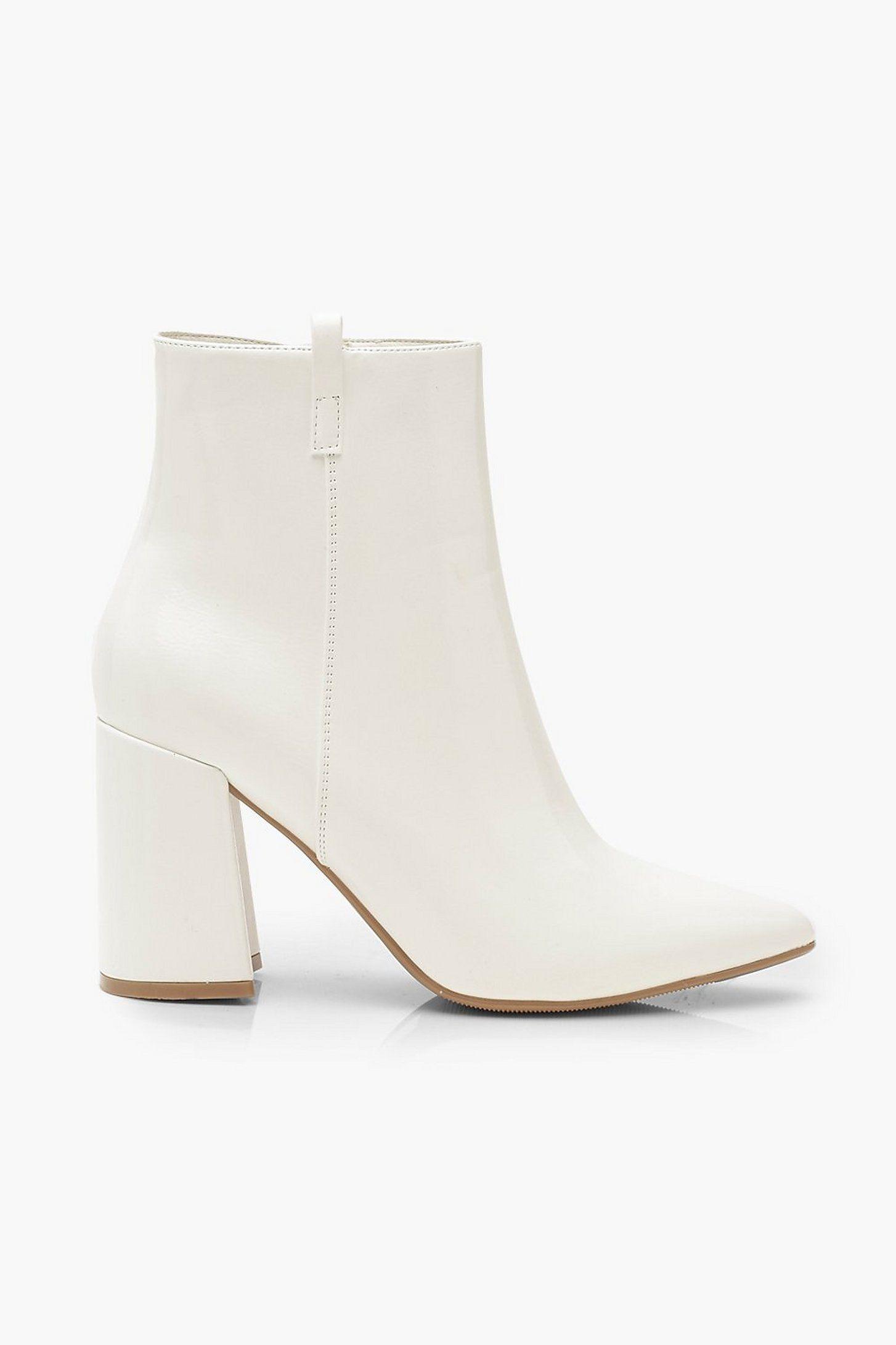 Pointed Block Heel Shoe Boots   boohoo