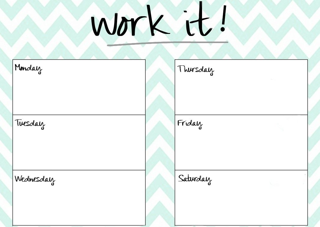 Blank Printable Workout Calendar Template   Planning And