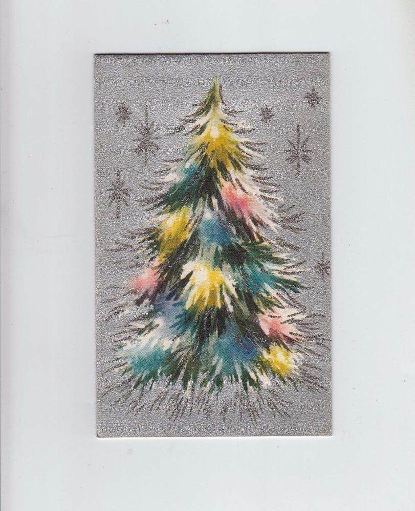 Vintage silver glittered colorful christmas tree stars greeting vintage silver glittered colorful christmas tree stars greeting card kristyandbryce Images