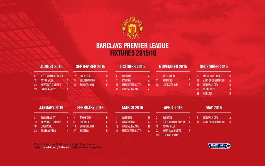 Manchester United 2015 16 Bpl Fixtures Wallpaper Official Manchester United Website Manchester United The Unit