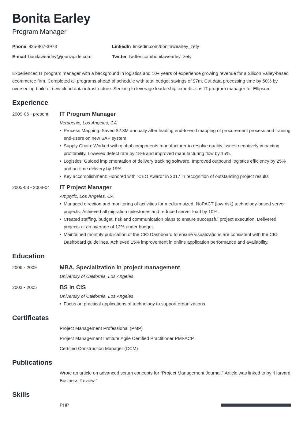 Program Manager Resume Example Template Minimo Resume Examples Manager Resume Programme Manager