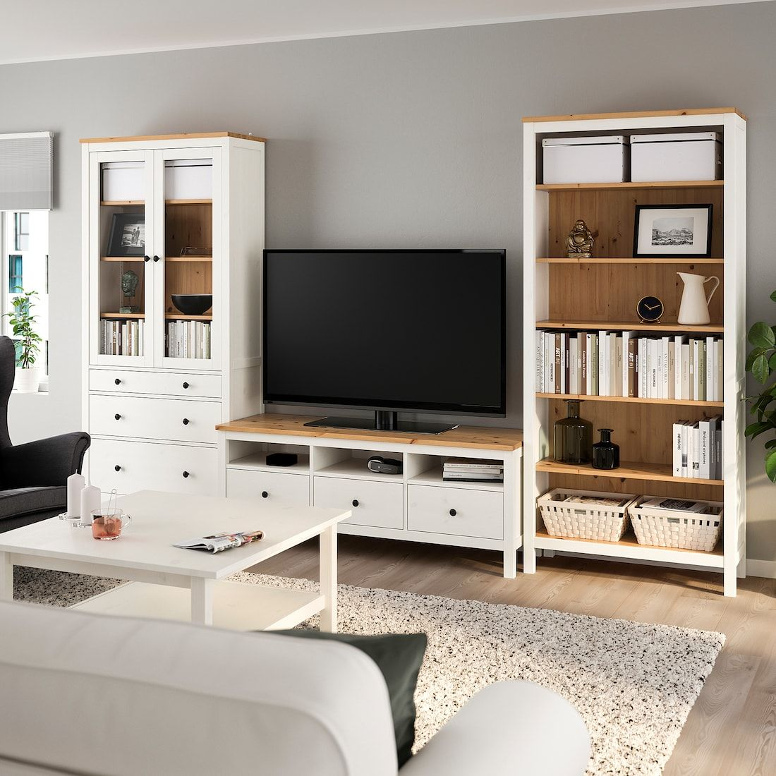 Hemnes Tv Storage Combination White Stain Light Brown Clear Glass 128 3 8x77 1 2 Tv Storage Living Room Entertainment Center Ikea Living Room