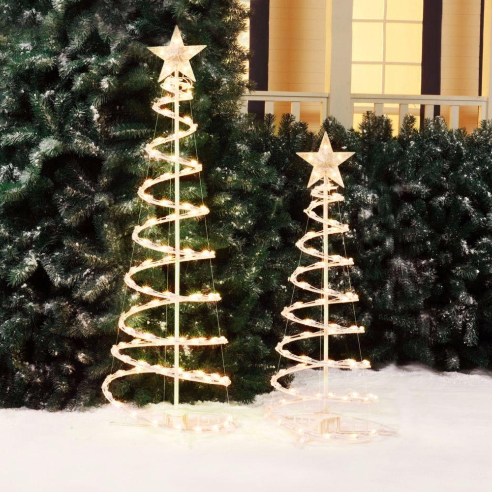 2pcs Lighted Christmas Tree Sculpture 4ft 3ft Outdoor Xmas Light