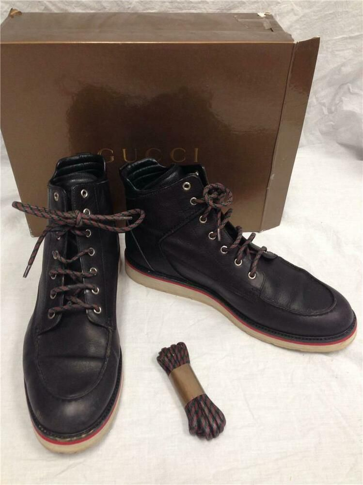 a9e7fc2ab3 Gucci Men's Size 11 1/2 G Black Leather Lace Up Boots 224611 #Gucci  #Military