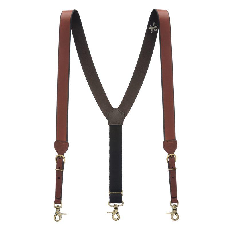 SuspenderStore Mens Plain Tooled 1 Inch Wide Western Leather Suspenders