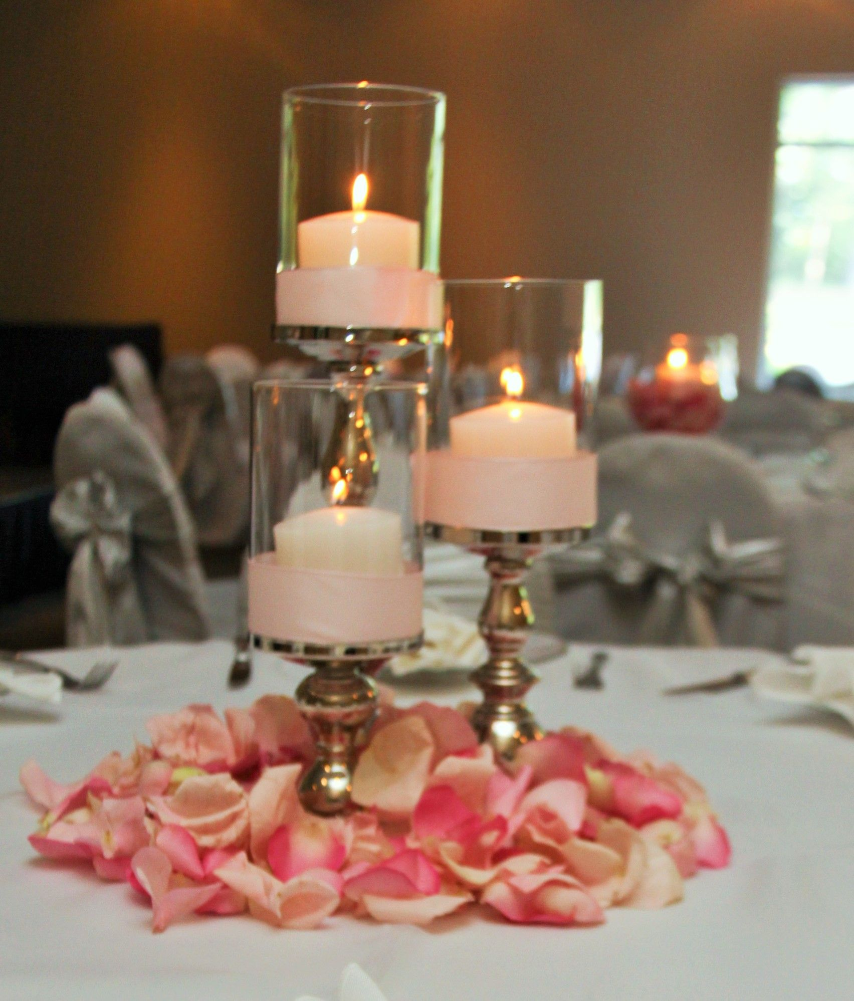 pinterest wedding table decorations candles%0A   Tier Silver Base Candle Holder with Globes surrounded by Rose Petals