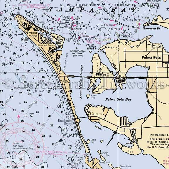 FL Nautical Chart Pillow  Made to Order Anna Maria Island