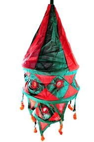 "Yapree Handmade Fabric Hanging Lantern 2 Tie Red and Green : 20"" long"