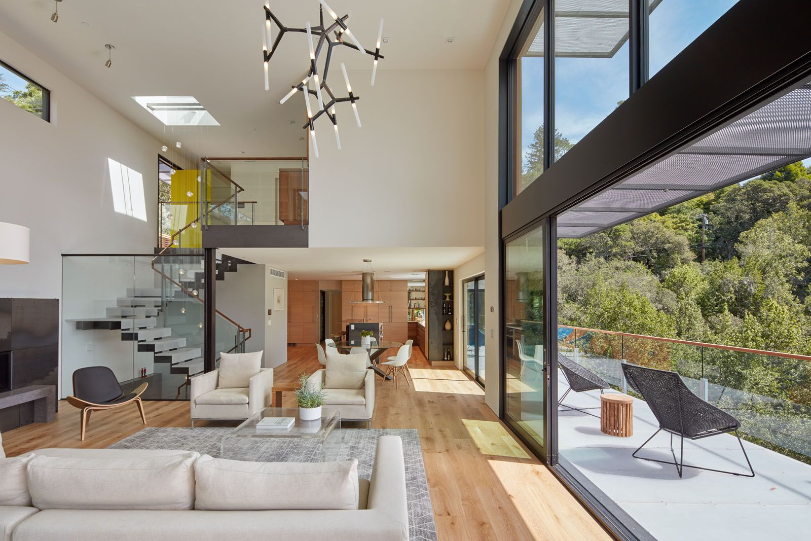 Glass Door Systems Open The Home To The Outdoor Vistas. While Oak Flooring  Throughout. Acrylic Resin Stair Treads ...