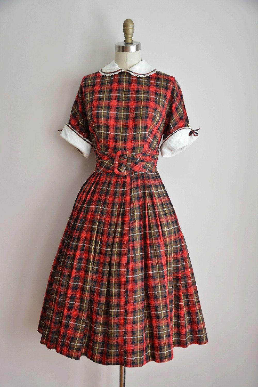 50s brick house dress vintage 1950s plaid daydress vintage holiday