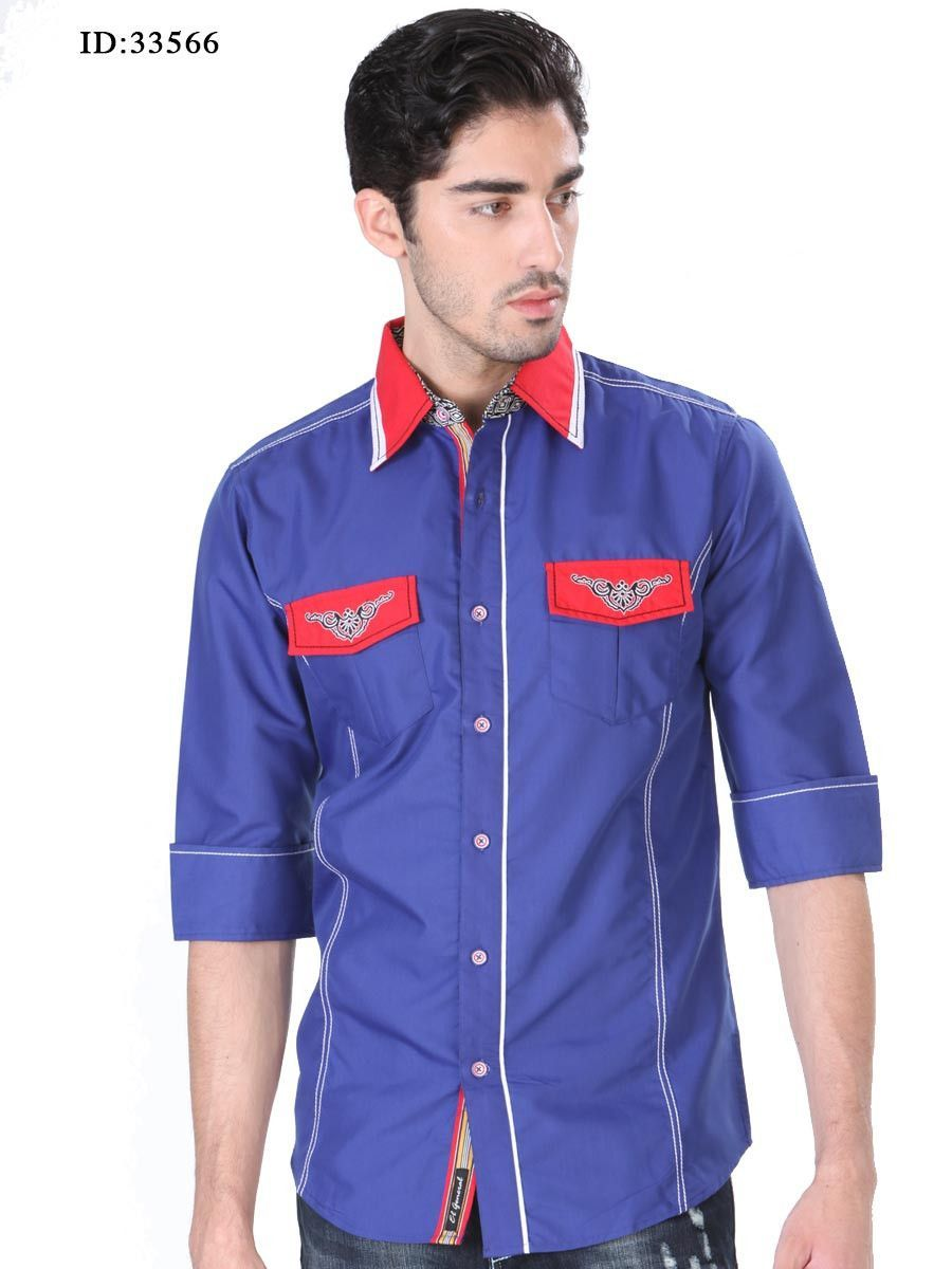 33566 Camisa Casual Caballero El General, 80% Polyester 20% Cotton - Royal Blue