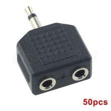 50 stks/partij 3.5mm jack plug man 2/dual 3.5mm vrouwelijke mono splitter adapter voor speaker muzikale apparaten(China (Mainland))