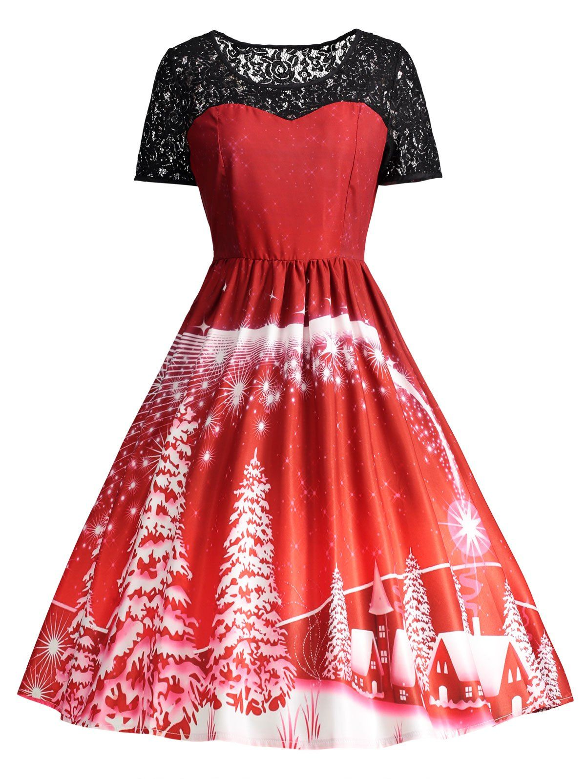 wholesale ugly christmas party lace panel vintage dress s red online cheap christmas party wigs and black vintage dress on rosewholesale - Cheap Christmas Dresses
