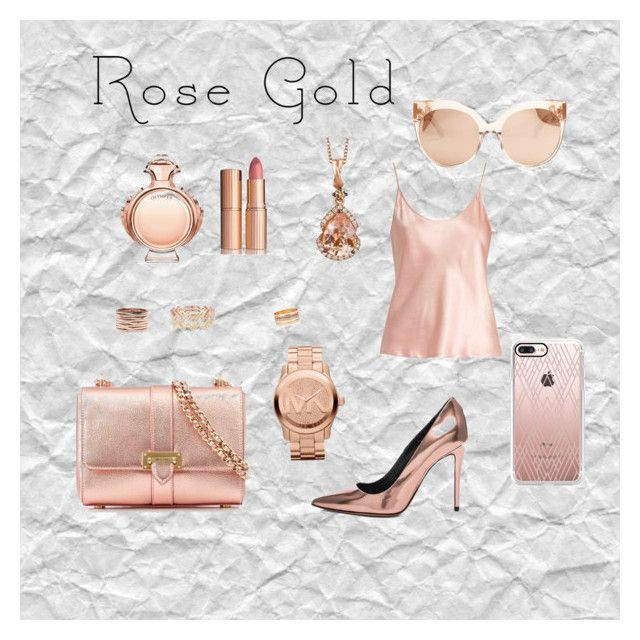 """""""Rose gold colored glasses"""" by jeana-deming-barnhart on Polyvore featuring Repossi, EF Collection, Accessorize, Aspinal of London, La Perla, Alexander Wang, Paco Rabanne, Charlotte Tilbury, LE VIAN and Michael Kors"""