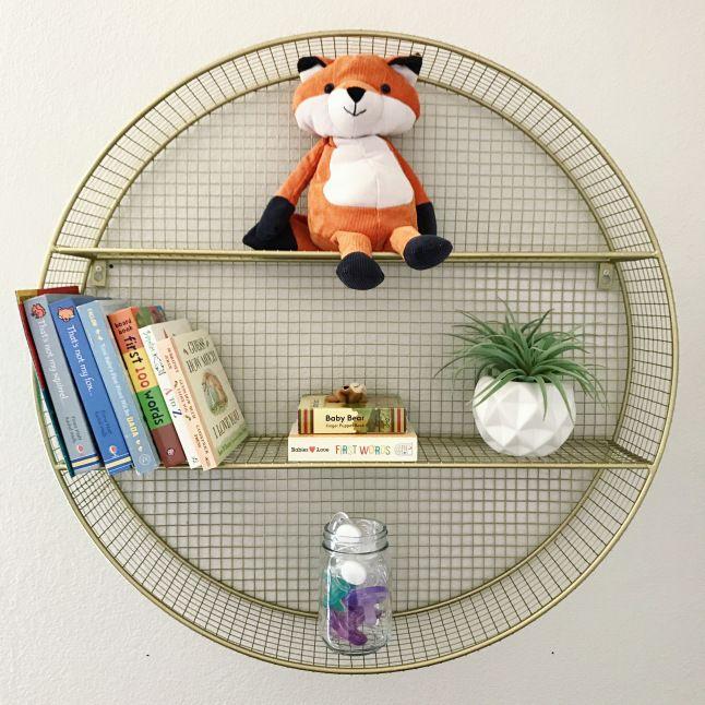 Pillowfort Target Bookshelf Circle Gold Shelf Foxes Boy Nursery