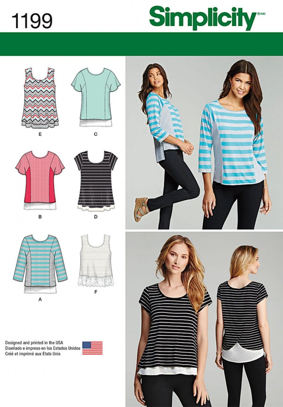 Simplicity 1199 Knit Tops for Girls\' and Plus Sizes Sewing Pattern ...