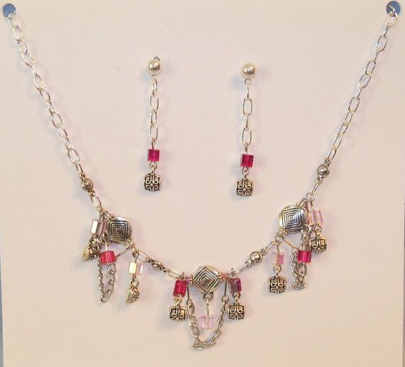 Pink Crystal and Silver Chain Necklace and by Ricksiconics on Etsy, $22.00