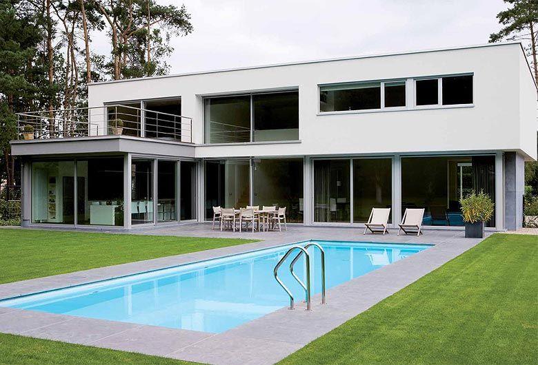 Schellen architecten nijlen exterieur achtergevel en tuin met zwembad huis pinterest - Landscaping modern huis ...