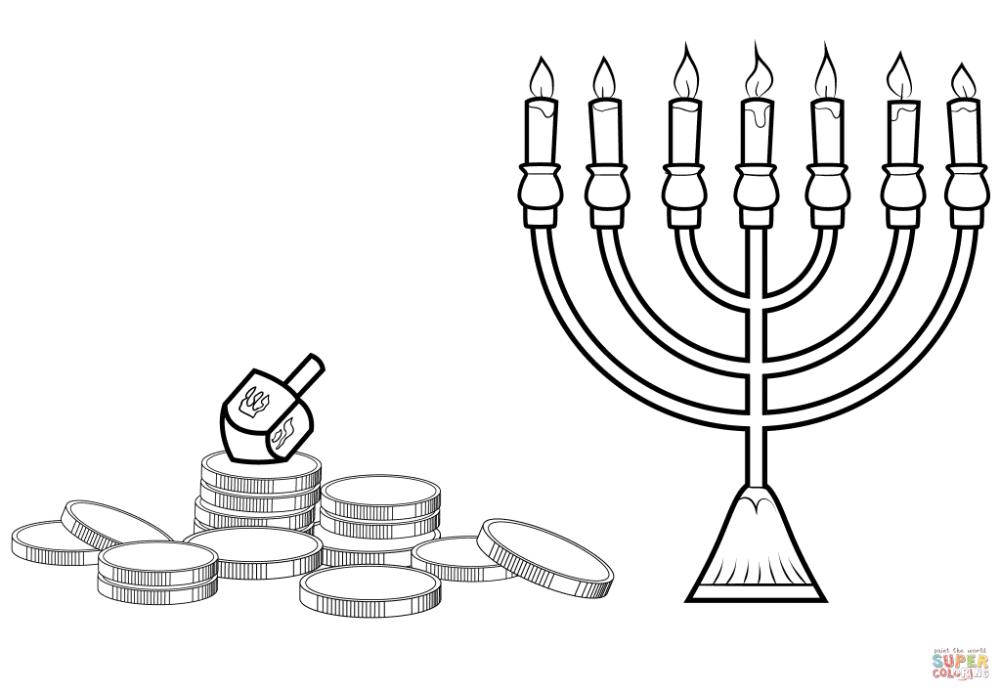 Hanukkah Menorah Dreidel And Gelt Coloring Page Free Printable Coloring Pages In 2020 Coloring Pages Inspirational Coloring Pages Free Printable Coloring Pages