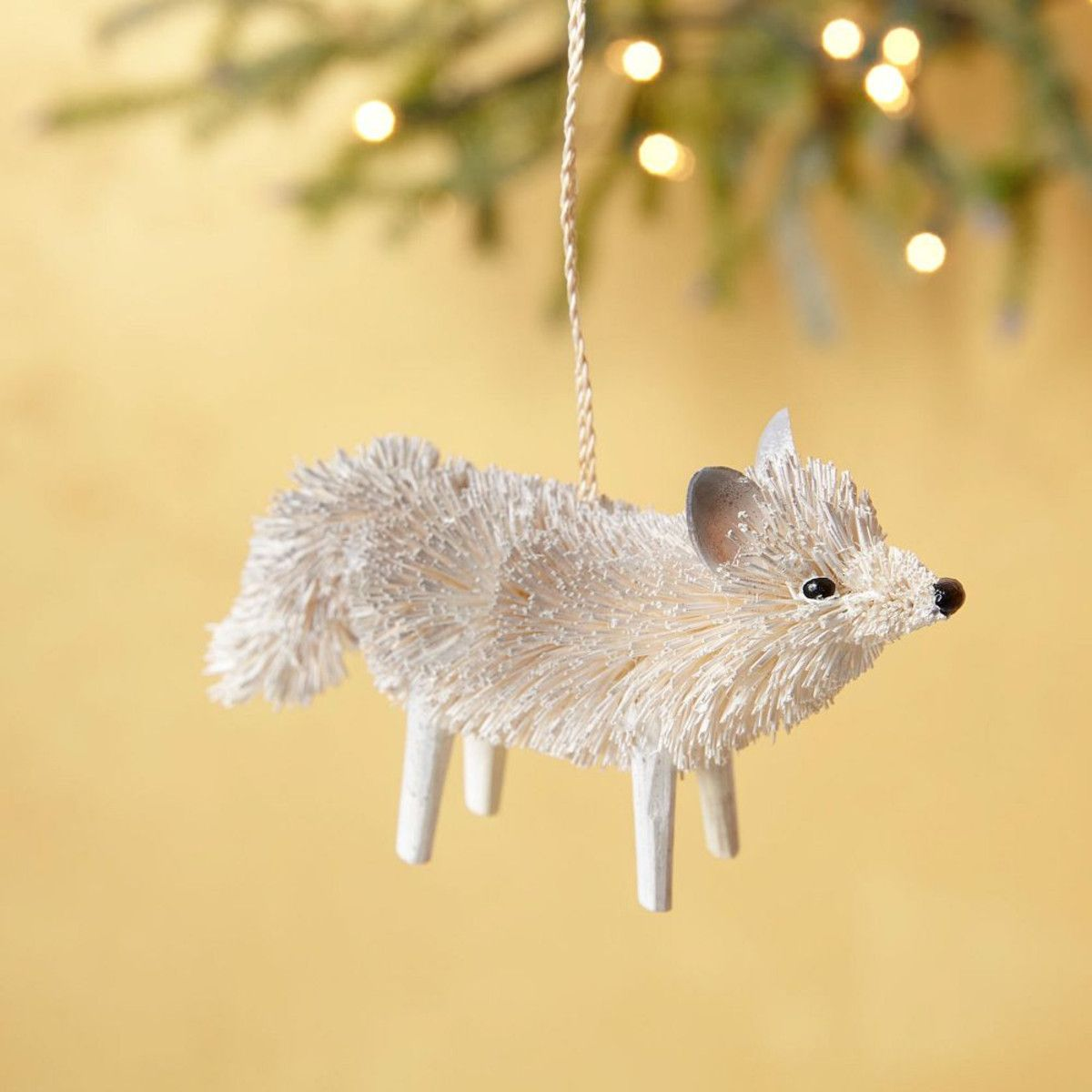 Bottle brush woodland animals - West Elm Bottle Brush Snow Wolf