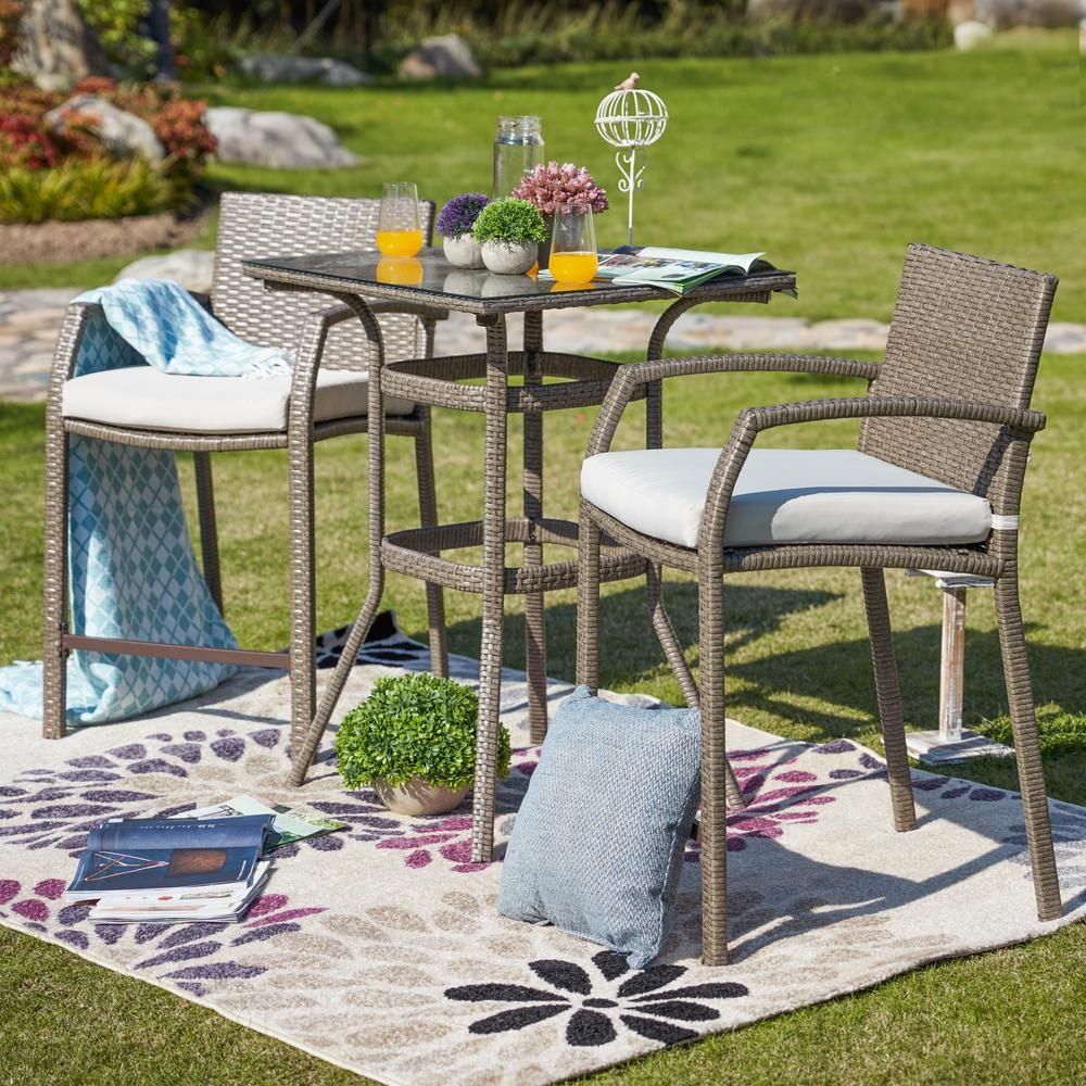 Patio Festival 3 Piece Wicker Outdoor Bar Height Bistro Set With