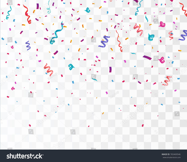 Colorful Bright Confetti Isolated On Transparent Background Festive Vector Illustration Confetti Isolated Co Transparent Background Background Design Confetti