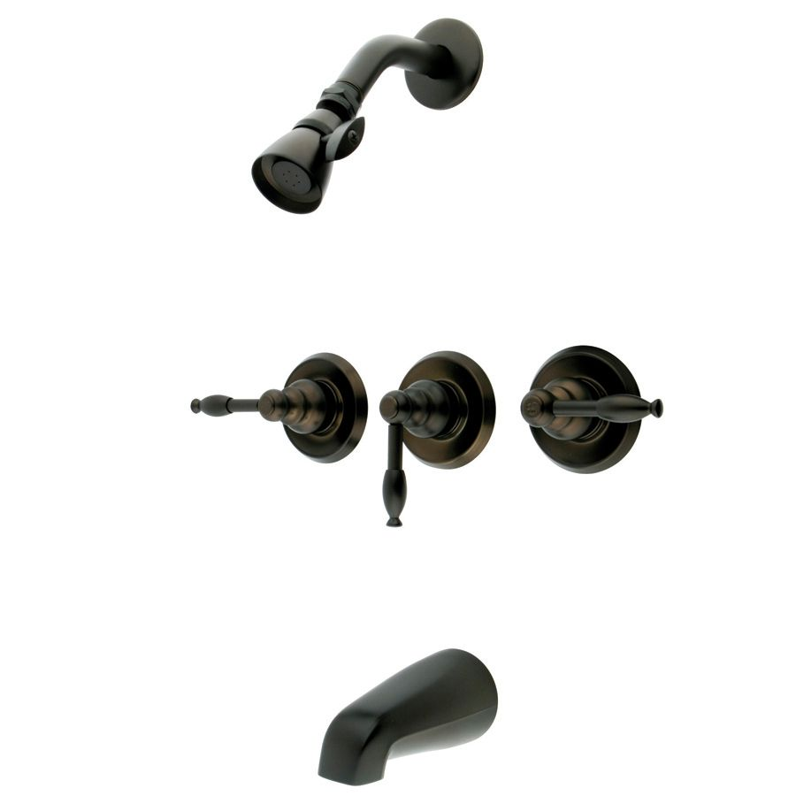 Kingston Brass Magellan Oil Rubbed Bronze 3 Handle Tub And Shower With Multi Function Showerhead Shower Faucet Tub And Shower Faucets Shower Tub