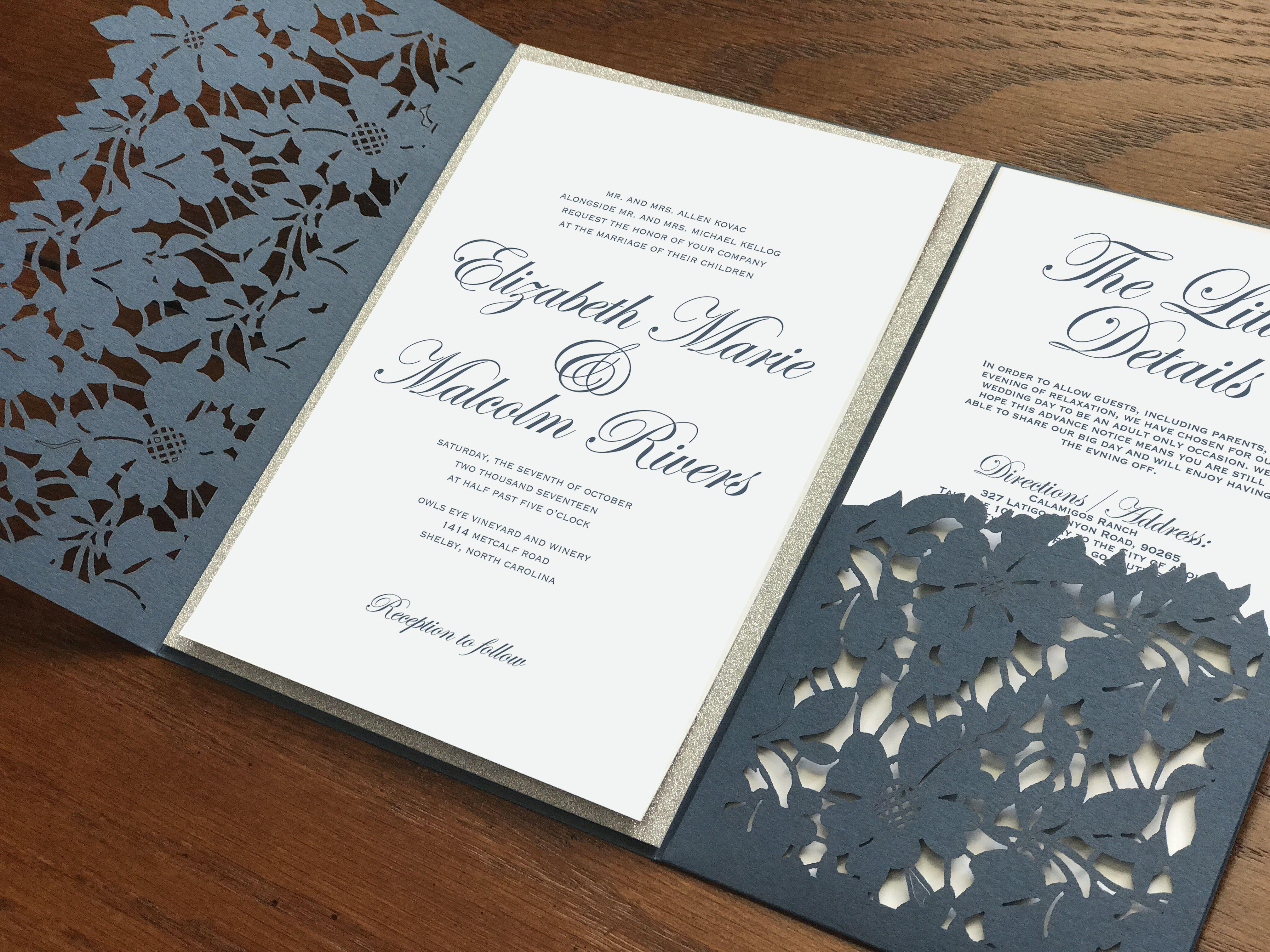 Navy blue wedding invitations. Slate blue wedding invitations ...