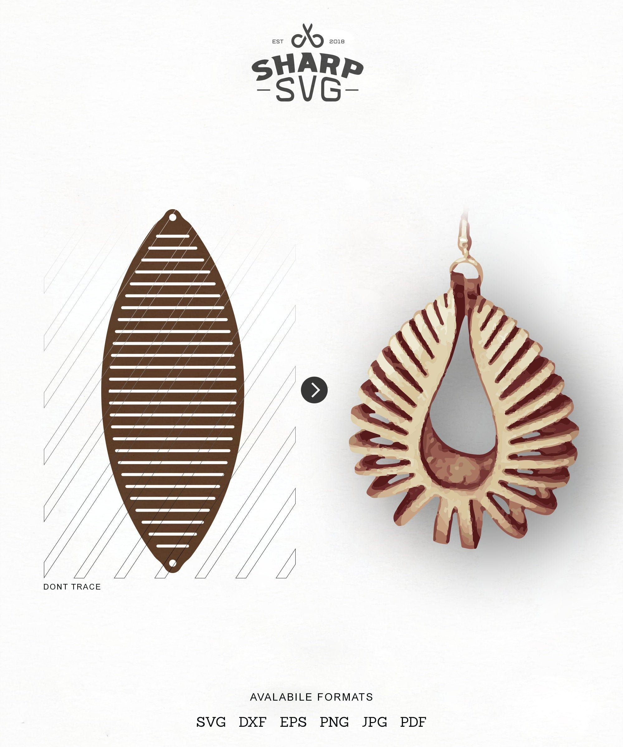 Photo of Sculpted Earring SVG, Leather Twisted SVG, Pendant SVG Tridimensional Earrings dxf 3D Leather Jewelry Laser Cut Template Commercial Use