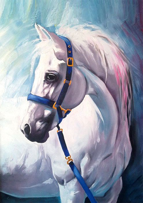 White Horse Oil Painting Print Animal Illustration Animal