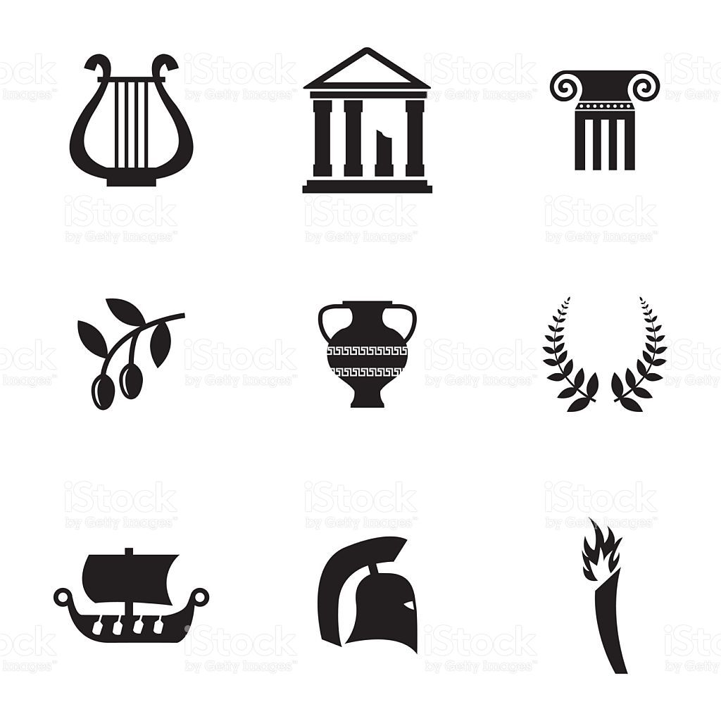 Photo of Vector black greece icons set on white background