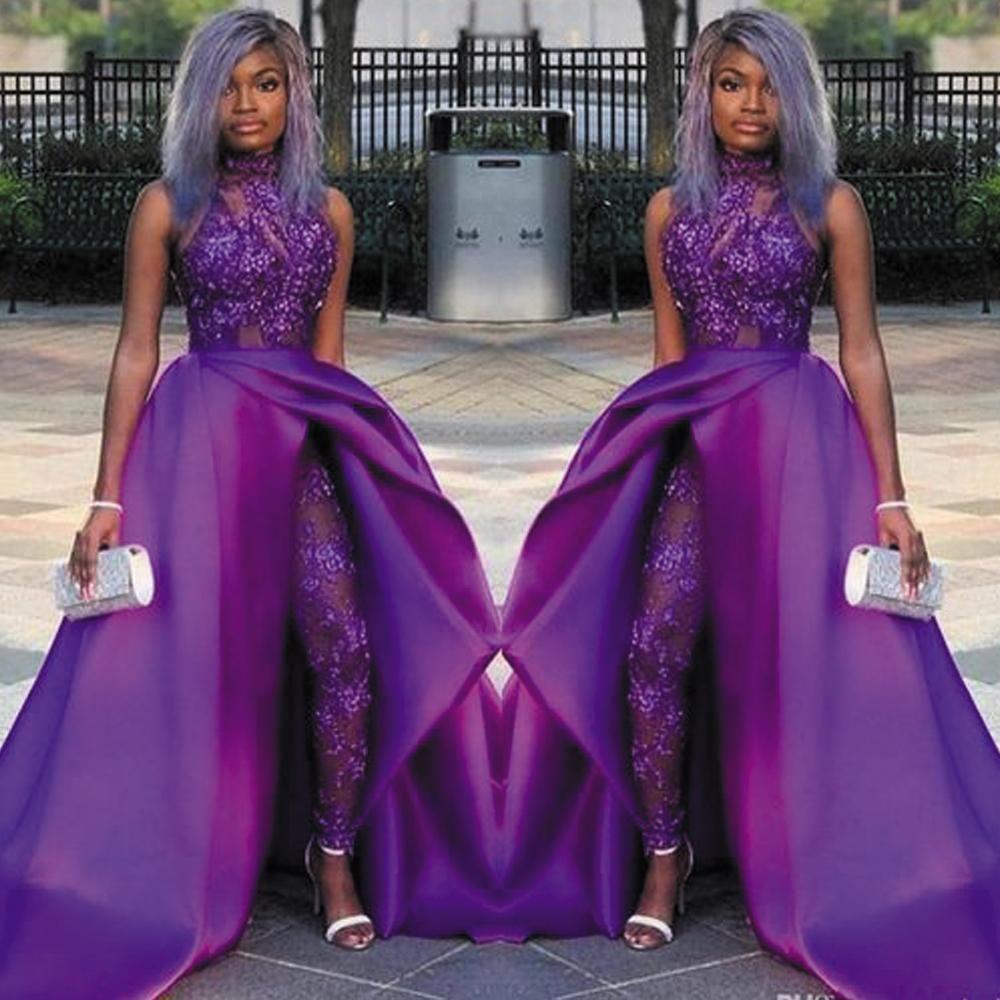 Detachable Skirt Prom Dresses 2020 Purple Jumpsuit For Women Lace Applique Beaded Sparkly Pant Suit For Weddings African Prom Dresses Beaded Evening Gowns Purple Evening Dress [ 1000 x 1000 Pixel ]