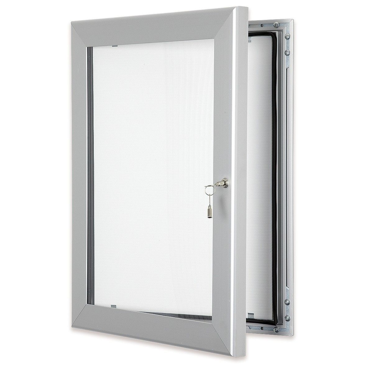 Silver outdoor lockable poster cases lockable waterproof and vandal resistant lockable frames for Exterior display case