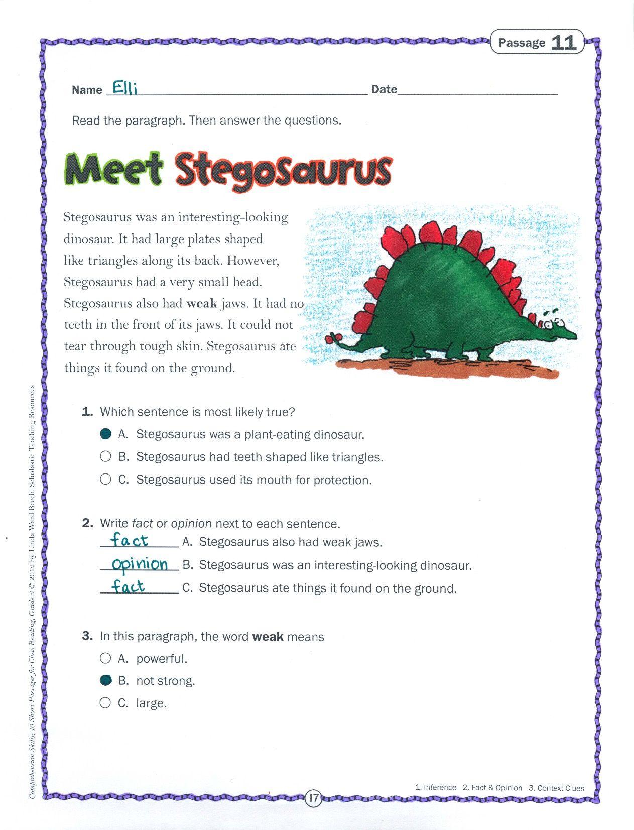 This Short Nonfiction Text About The Stegosaurus Plus