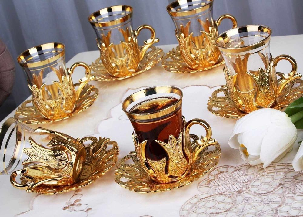 Details about 24 pc turkish tea glasses set with holder