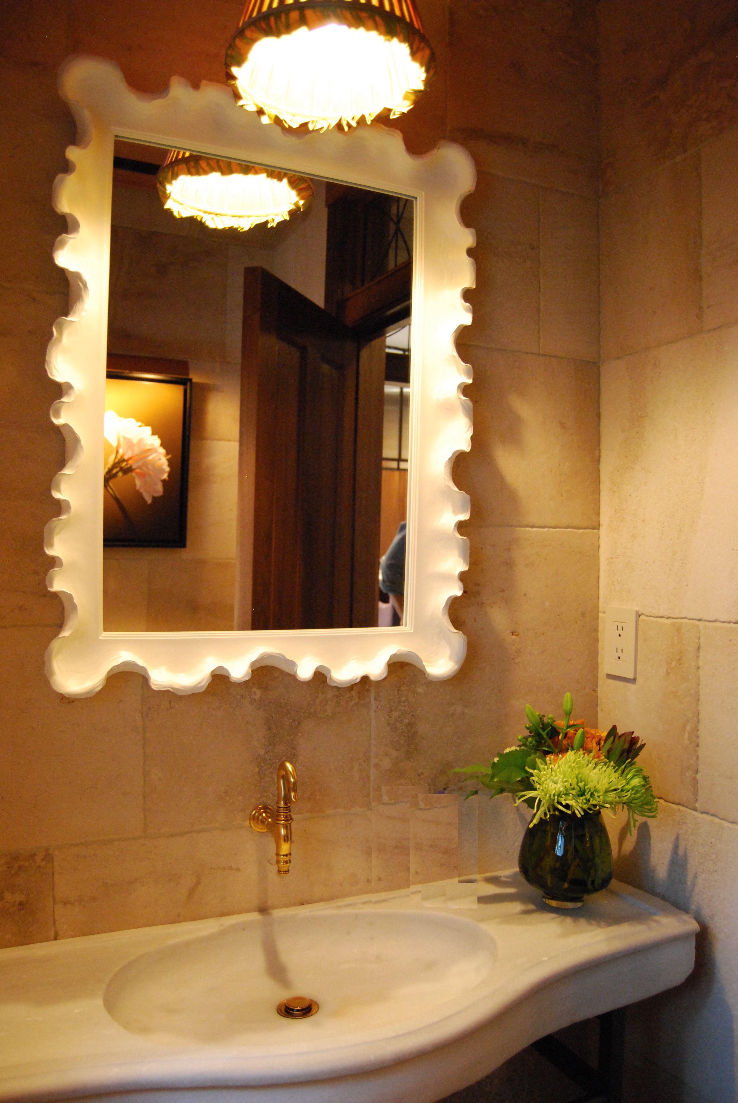 Kathryn Scott Design Studio Powder Room  with antique STONE sink from Ottoman Empire