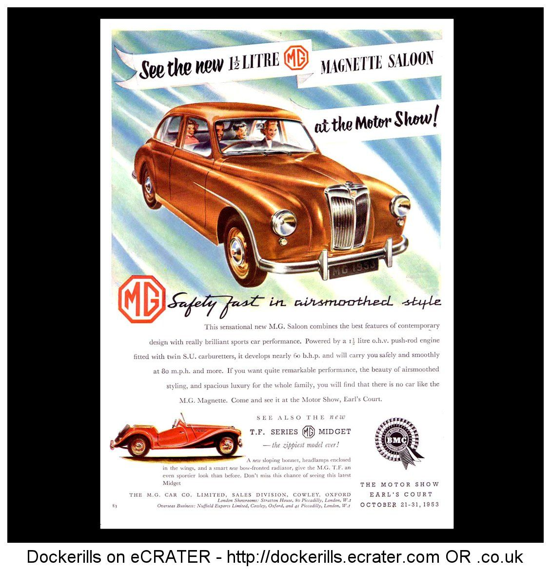 Mg mg magnette 1 5 saloon advert from the autocar magazine october 23rd