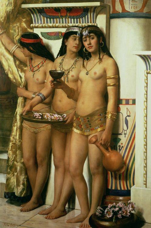 """""""Las doncellas del faraón"""" (John Collier)"""