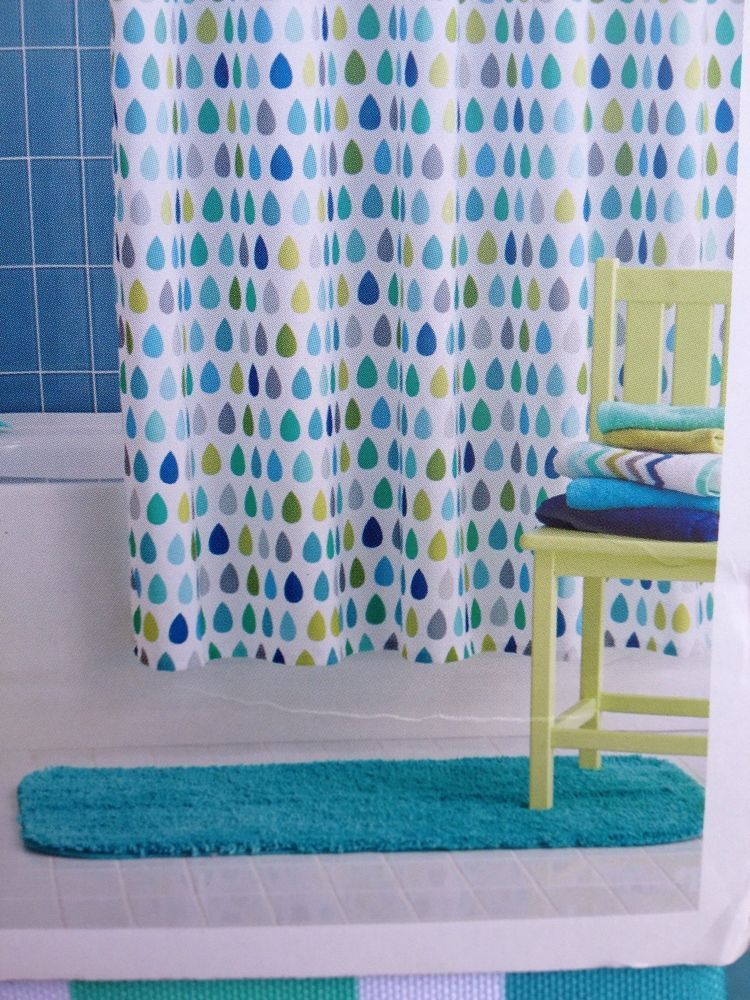 Circo Raindrops Shower Curtain Fabric Blue Green Gray New Boys Girls Kids # Circo
