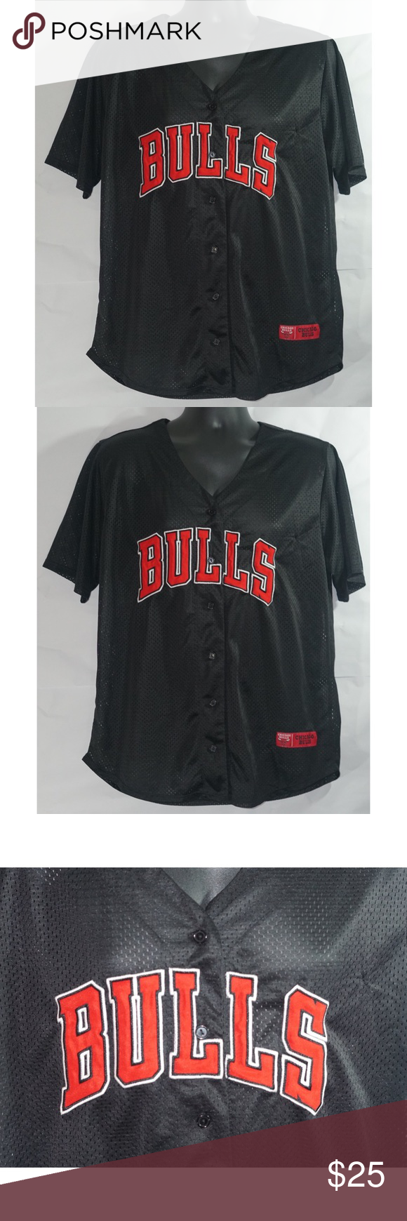 Chicago Bulls Nba Baseball Jersey Red Black Size L Nba Shirts Clothes Design Black And Red